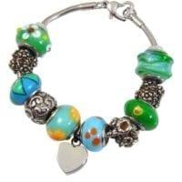 Charm Beads Cremation Bracelet Green