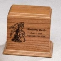 Kneeling Angel Wood Urn