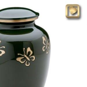 green butterfly urn
