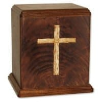 Wood Urn with Inlay Cross