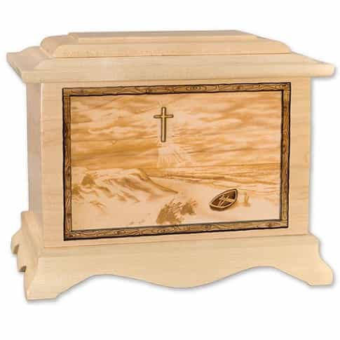 Footprints in Sand Urn with Cross