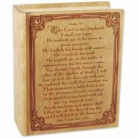 Wood 23rd Psalm Bible Cremation Urn