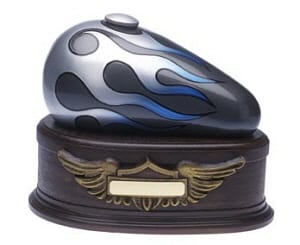 Born to Ride Cremation Urn Silver Blue