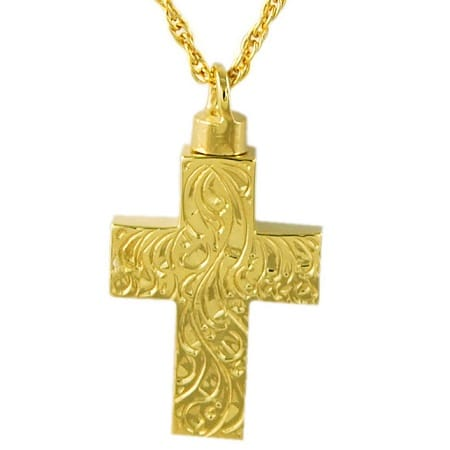 Etched Cross Cremation Pendant
