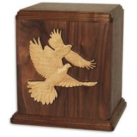 Doves Wooden Urns for Ashes