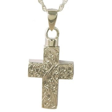 Silver Etched Cross Jewelry for Ashes