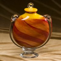 Fiery Sunset Glass Urn