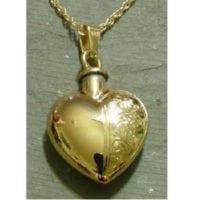Heart Urn Necklace Half Etched