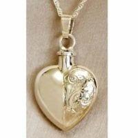 Half Etched Heart Urn Necklace