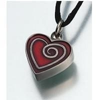 Pewter Heart with Red Enamel Cremation Necklace