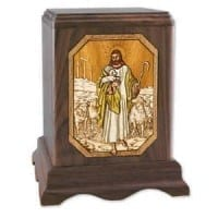 Lord Is My Shepherd Wood Cremation Urn