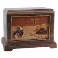 Riding Home Motorcycle Wood Urn with Cross