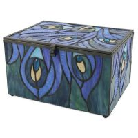 Memory Chest Glass Urn Sapphire Peacock