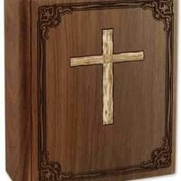 Bible Wood Cremation Urn