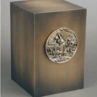 Golf Urn Antiqued Bronze Cube