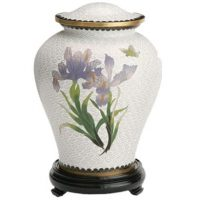 White Iris and Butterfly Urn
