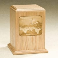 Wood Laser Lighthouse Urn