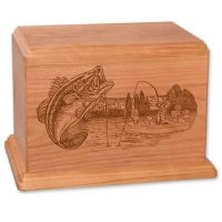 Newport Wood Bass Fishing Urn