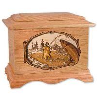 Salmon Fishing Wooden Urns