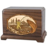 Wood Trout Fishing Urn