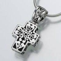 Filigree Cross Silver Urn Pendant