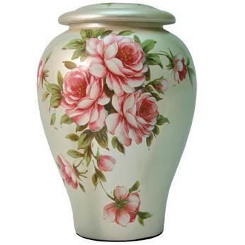 Roses Bouquet Ceramic Urn