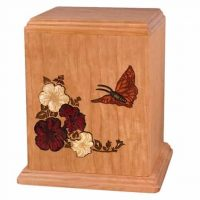 Inlay Butterfly Wooden Urns for Ashes