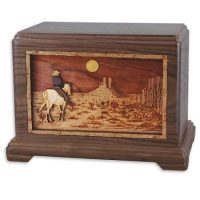 Desert Horse Rider Walnut Wood Cremation Urns