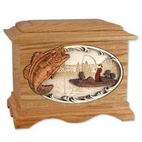 Bass Fishing Urn Oak