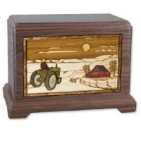 Farm Tractor Wood Cremation Urns