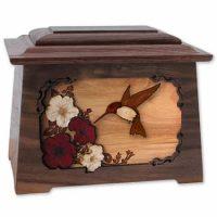 Hummingbird Wood Cremation Urn Walnut Astoria