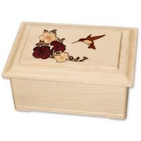 Hummingbird Inlay Wooden Urns for Ashes U-15