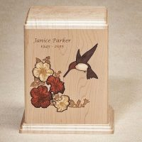 Hummingbird Inlay Wooden Urns for Ashes