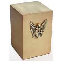 Guardian Angel Cast Bronze Cube Urn