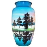 Golf Course Hand Painted Urn