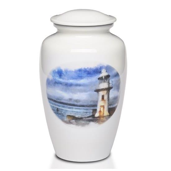 White Lighthouse Urn