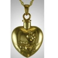 Gold Plated Heart with Paws Ashes Necklace