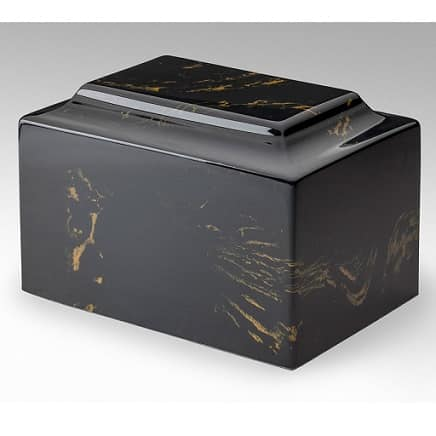 Black with Gold Marble Cremation Urn