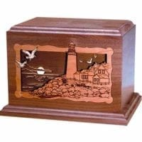 Walnut 3D Lighthouse Urn