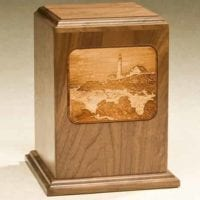 Lighthouse Urn Laser Etch Walnut