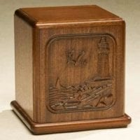 Lighthouse Urn Carved Mahogany