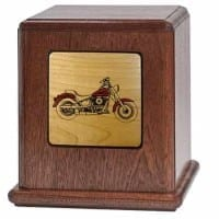 Motorcycle Urn with Etched Insert
