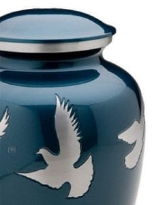 flying dove blue urn