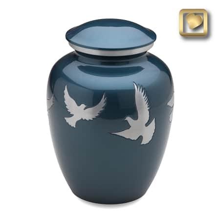 Flying Doves Blue Urn