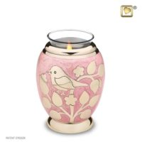 Gold Blessings Pink Candle Urn
