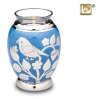 Blue Silver Blessings Birds Candle Urn