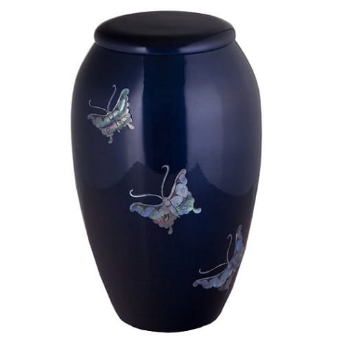Blue Urn with Mother of Pearl Butterflies