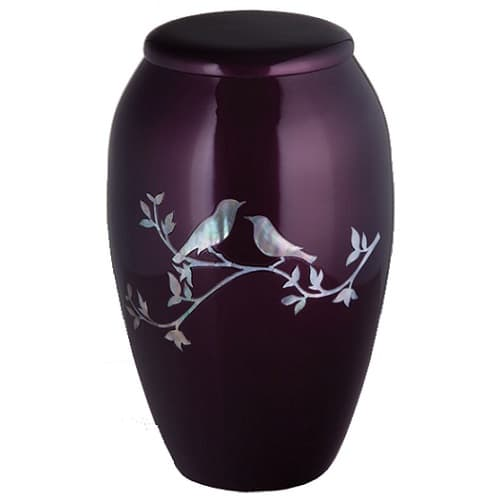 Purple Urns With Mother of Pearl Birds
