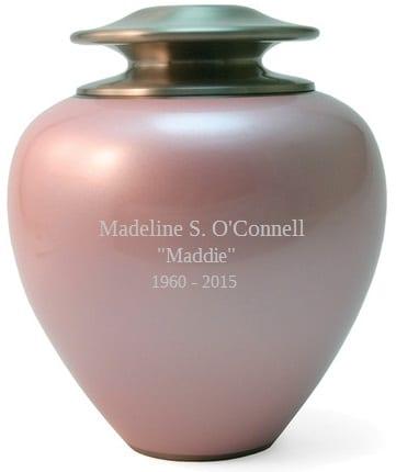pink cremation urn