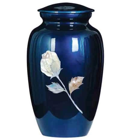 Blue Mother of Pearl Urn with Rose